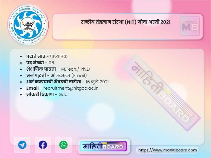 NIT Goa Recruitment 2021