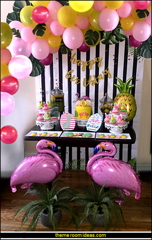 tropical party decorating ideas  Flamingo and Pineapple Helium Balloon  Tropical party decorations - tropical party ideas - ALOHA Hawaii Luau Party Decorations - Luau Hawaiian Grass Table Skirt raffia Decorations - Hula Hibiscus Tropical Birthday Summer Pool Party Supplies - tiki party pineapple party decorations - beach party - Birthday party  photo backdrop - tropical themed cake decorations - beach tiki themed table decorations -  party props - summer party