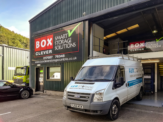 Photo of the van we hired outside our old storage facility