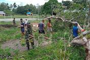 Semangat Gotong Royong TNI dan Warga Perbatasan Bersihkan Pohon Tumbang