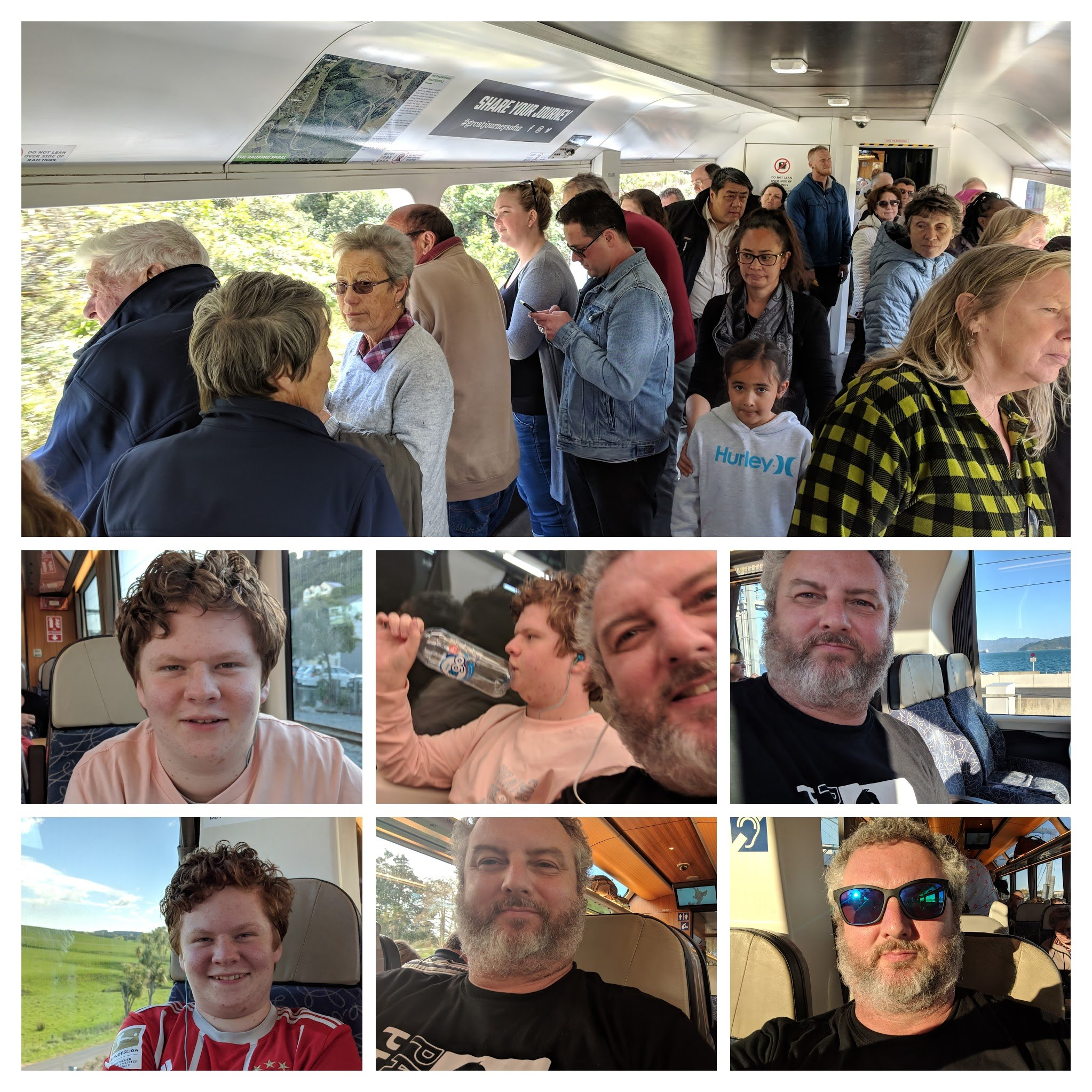 Collage of train people heading to Wellington
