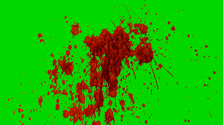 Blood Spaltters, drip & runs on a green background.