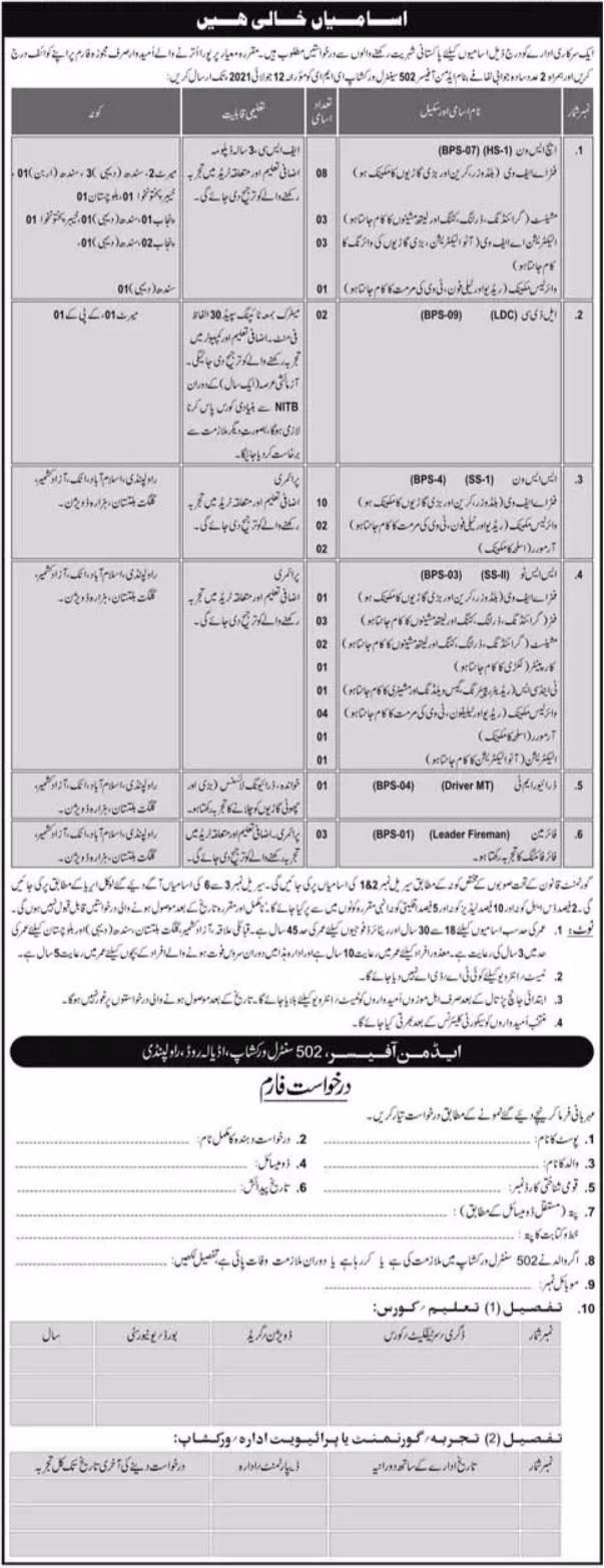 Pak Army 502 Central Workshop EME Rawalpindi Jobs 2021