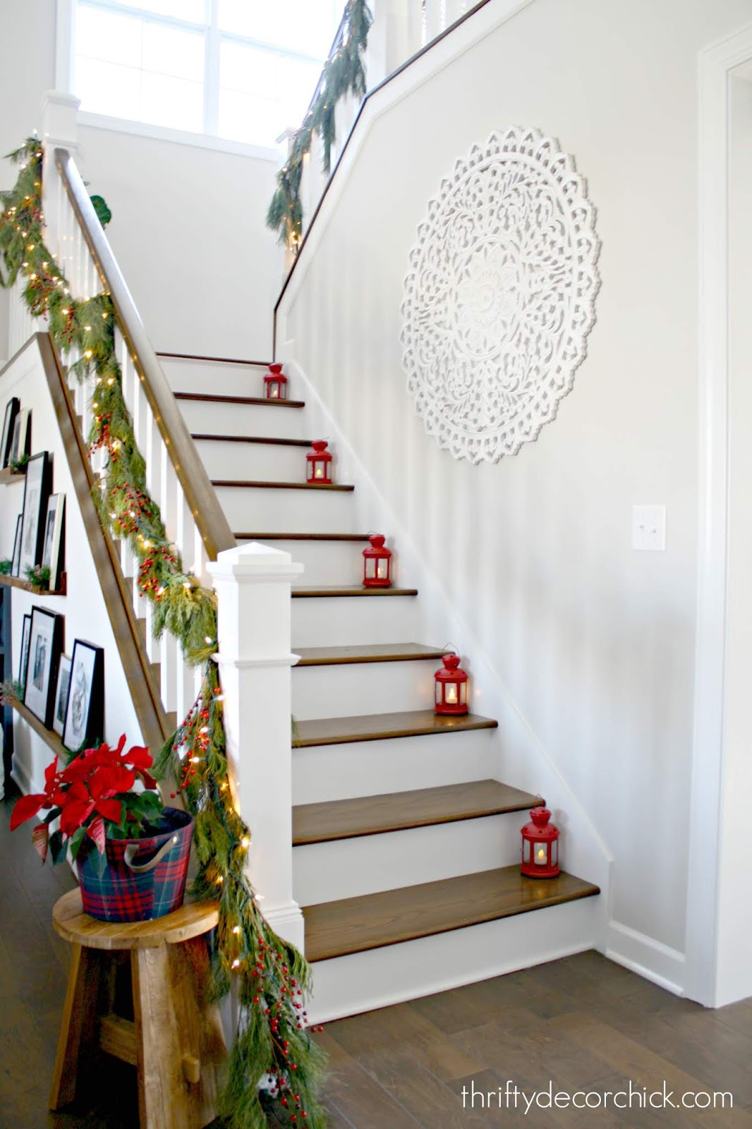 Open staircase with stained steps, white risers