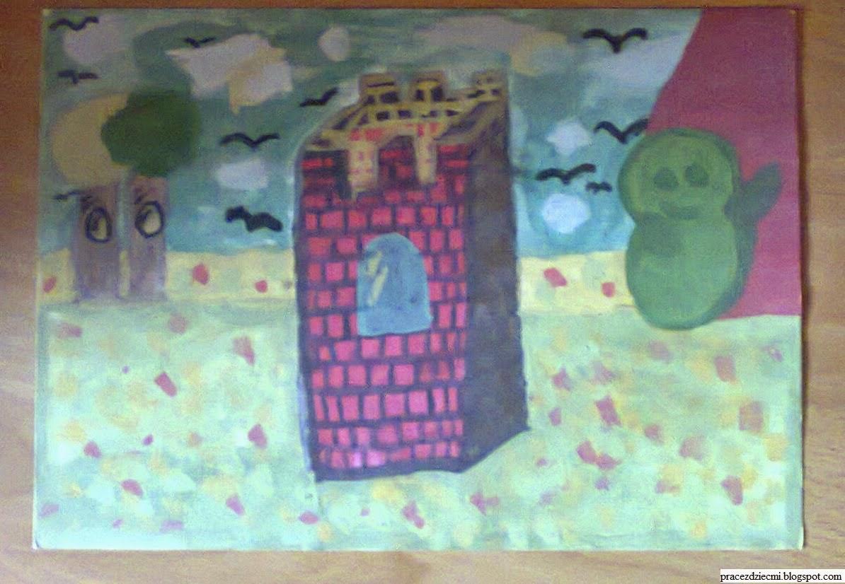 rysunek, wieża zamkowa, farbami