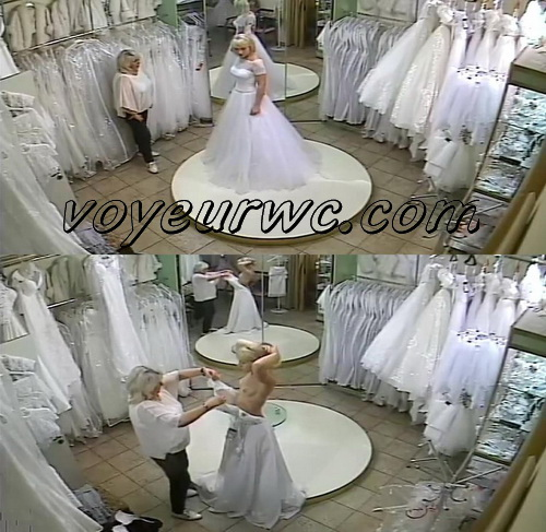Peeping on the bride getting dressed (Trying on wedding dress 03)