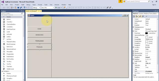 Desain Form Admin Aplikasi Inventaris Pada VB.NET