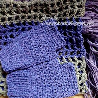 Crochet scarf and fingerless gloves
