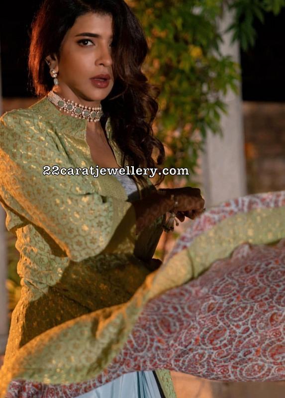 Lakshmi Manchu Emerald Polki Choker