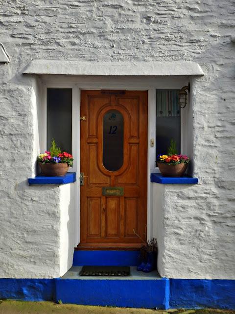Flowers in window boxes, Fowey, Cornwall