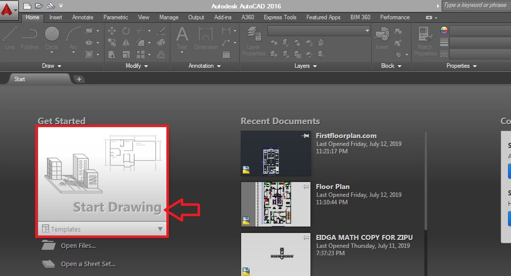 Start drawing in autocad