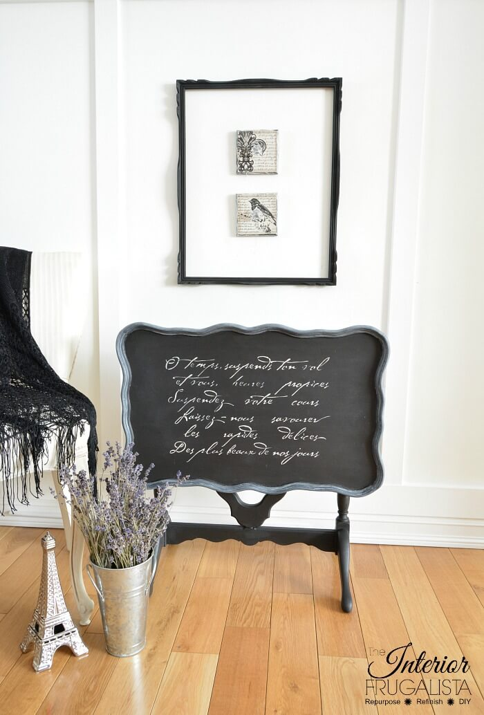 Black Flip Top Table Stenciled French Poem