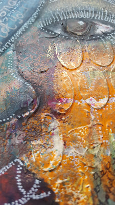 Artwork of face with lots of texture - mixed media art
