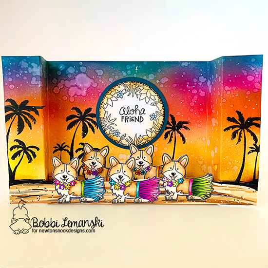 Aloha Friend by Bobbi features Corgi Beach, Tropical Fringe, and Paradise Palms by Newton's Nook Designs; #newtonsnook