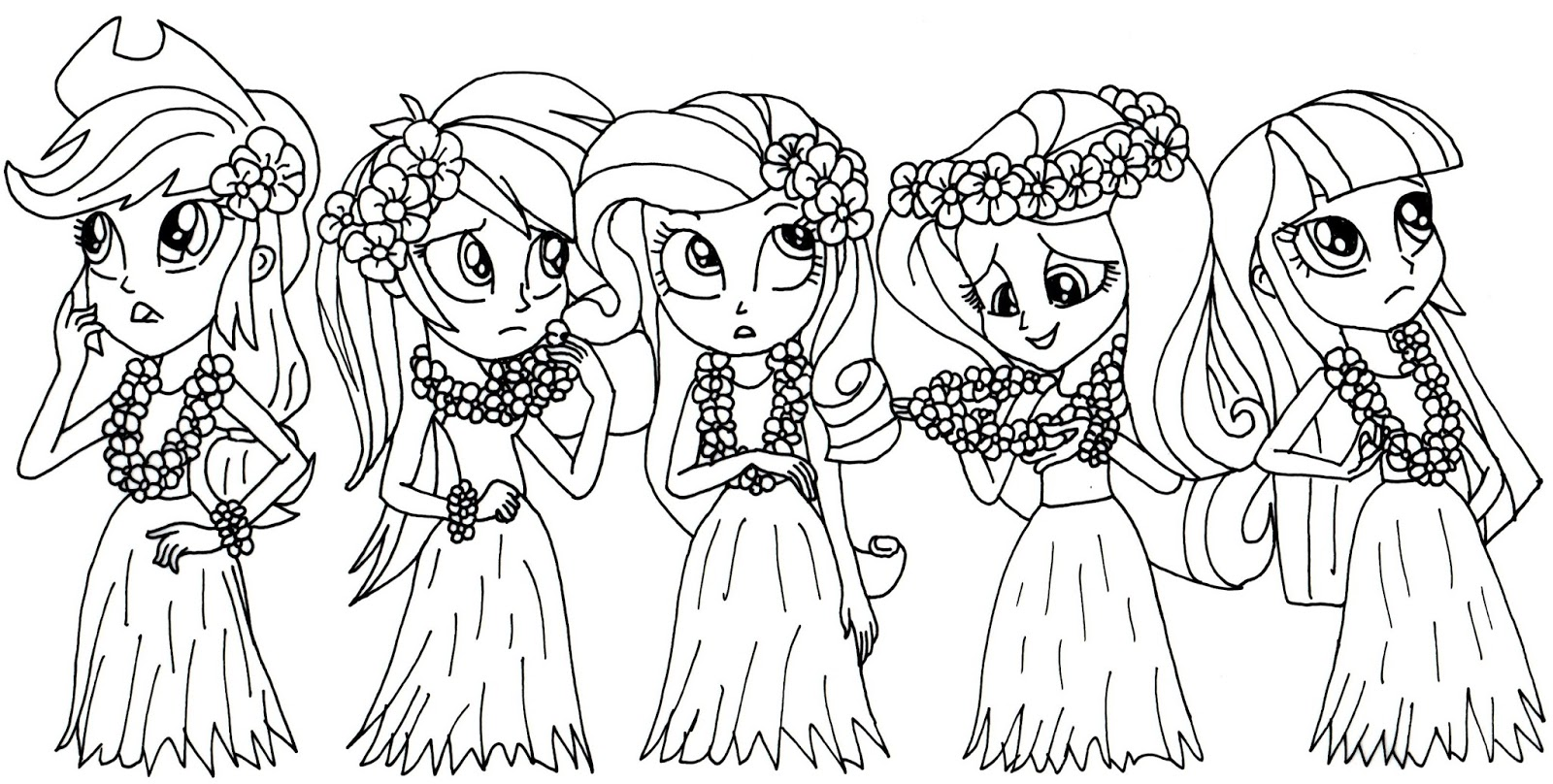 Free Printable My Little Pony Coloring Pages My Little Pony Coloring Page Equestria Girls In Grass Skirts