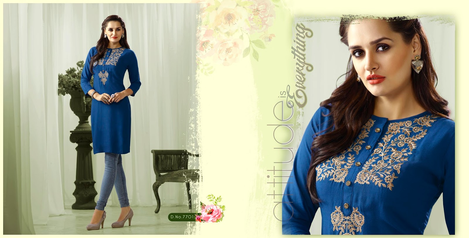 Lily Vol 3 – Rayon Embroidery Work Stylish Kurti Buy Online