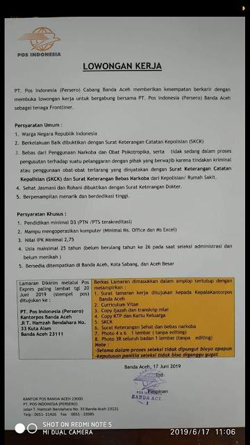 lowongan kerja pt pos indonesia 2019,