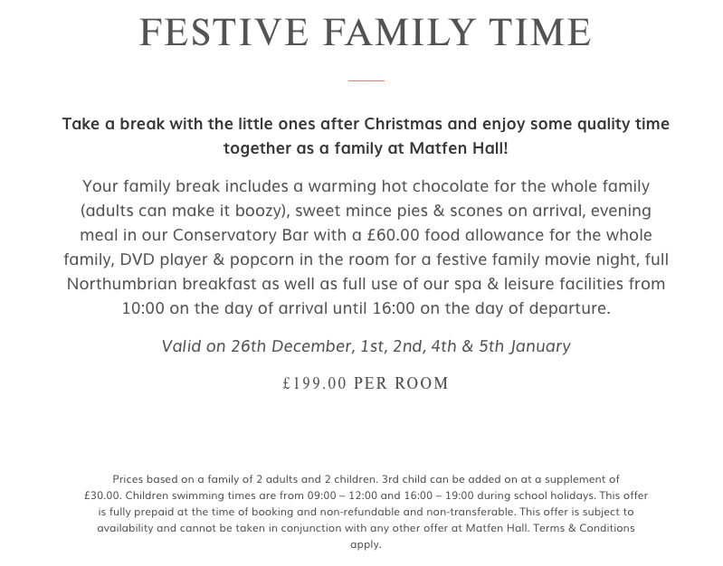 Christmas Days Out for Teens in North East England  - festive family time at matfen hall