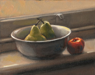 Still life oil painting of two pears in a ceramic bowl and a mandarine on a windowsill.