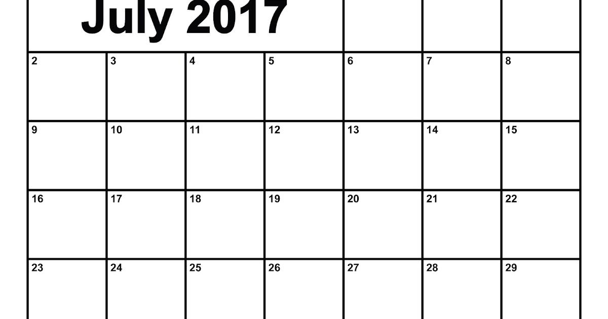 Get Printable Calendar : July 2017 Printable Blank ...