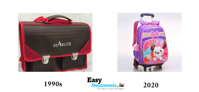 School bags in 90s vs 2020