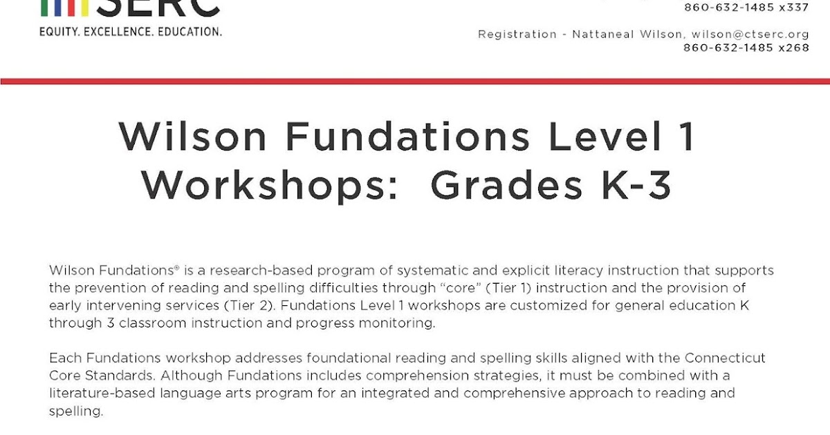 SERC Library Wilson Fundations Level 1 Workshops