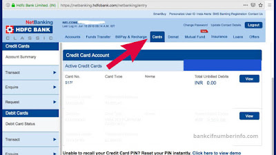 Select Cards Option in Net Banking