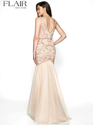 lace mermaid plugging v-neck fitted prom ivory color dress back side