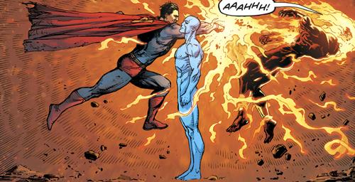 el doctor manhattan y superman se enfrentan en combate
