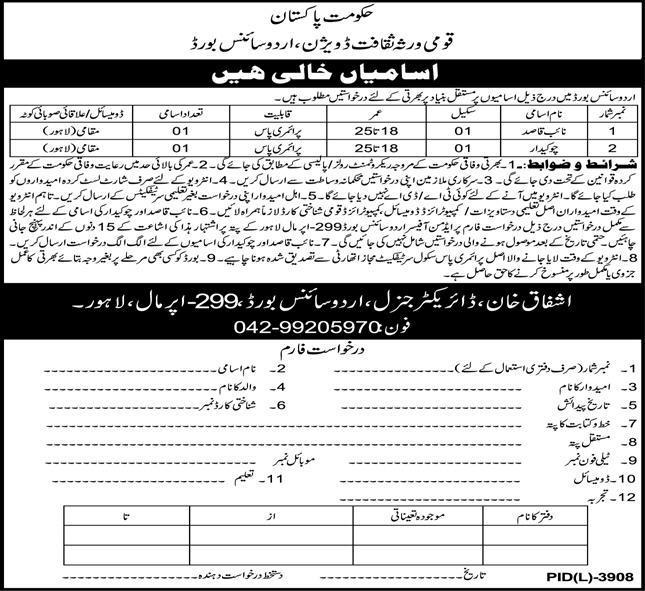 National Culture & Heritage Division Urdu Science Board Lahore Jobs