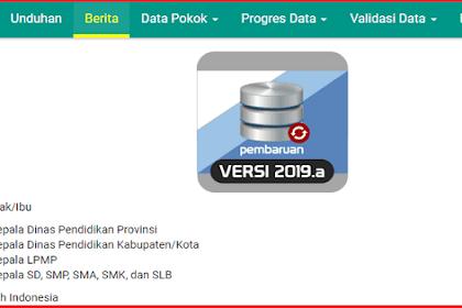 Aplikasi Dapodik Versi 2019.A (Instal Pembaruan Online)