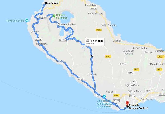 ruta en coche Sete Cidades Azores