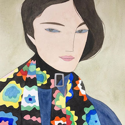 Kelly Beeman arte | dibujo en acuarela de mujer elegante en ropa fashionista