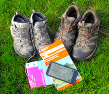 Image of walking boots and maps by Hertfordshire Walker released under Creative Commons