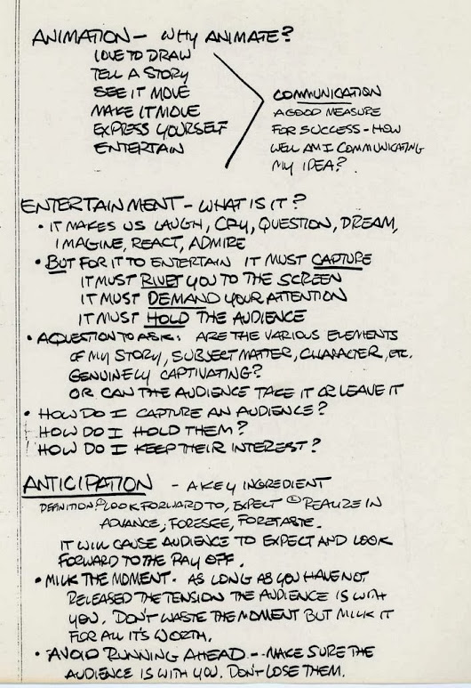 Notes from Glen Keane