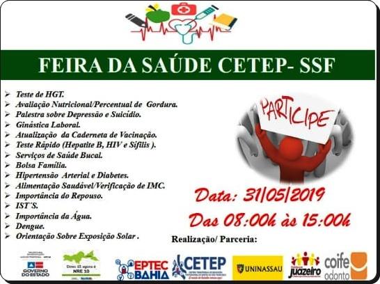 JUAZEIRO/BA: CETEP REALIZA FEIRA DA SAÚDE NA SEXTA-FEIRA (31)
