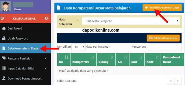 Klik menu Data Kompetensi Dasar, kemudian klik Tambah Kompetensi Dasar