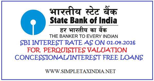 Sbi interest rate as on 01042016 for perquisites valuation for state bank of india interest rates on 1st april 2016 for the purpose of computing perquisite valuation for the financial year 2016 17 fandeluxe Images