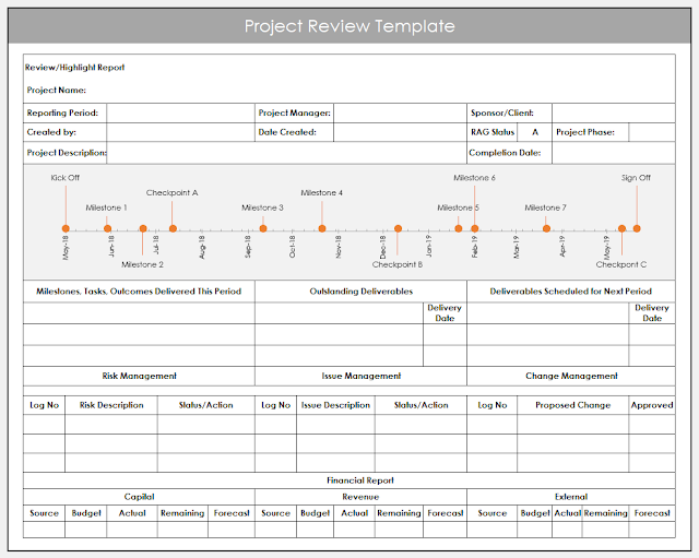 excel project review template