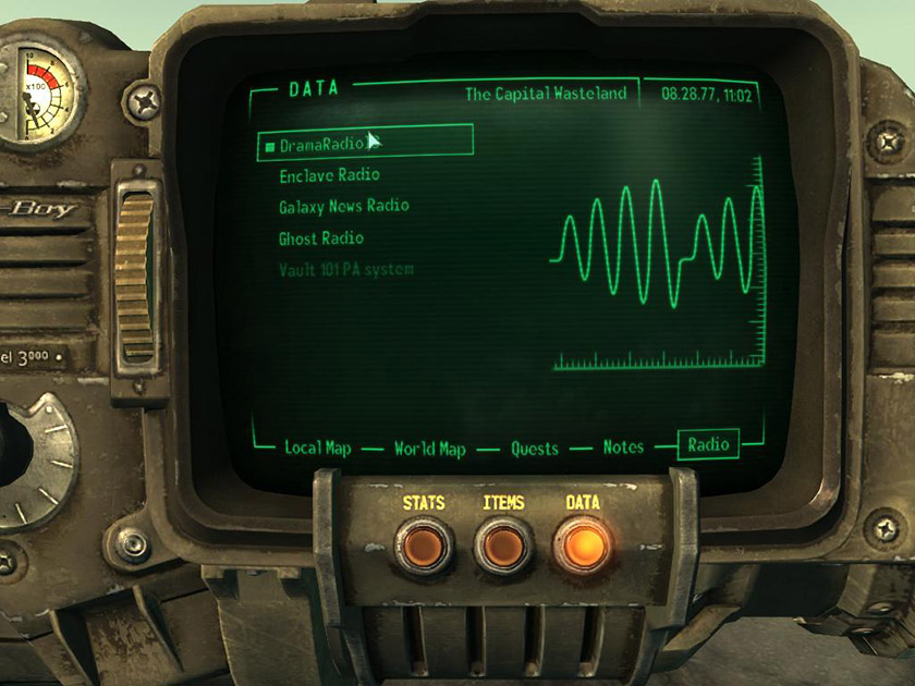 На «Піп-Бої» головного героя можна обрати улюблену радіостанцію