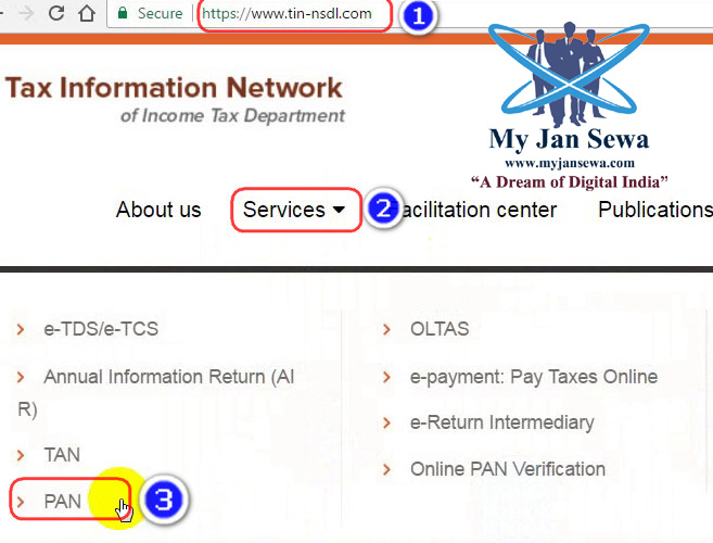 Online Apply for PAN Application in Hindi - MyJanSewa - Computer