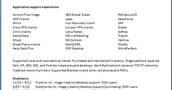 desktop support manager sample resume format in word free