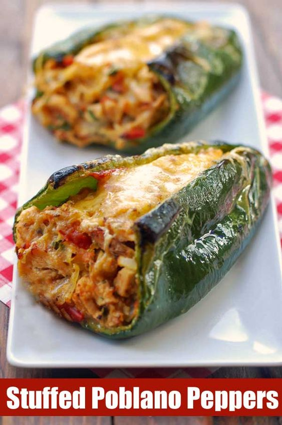 A fiesta of flavors and colors, these oven-baked, chicken stuffed poblano peppers are delicious, gorgeous, and healthy.