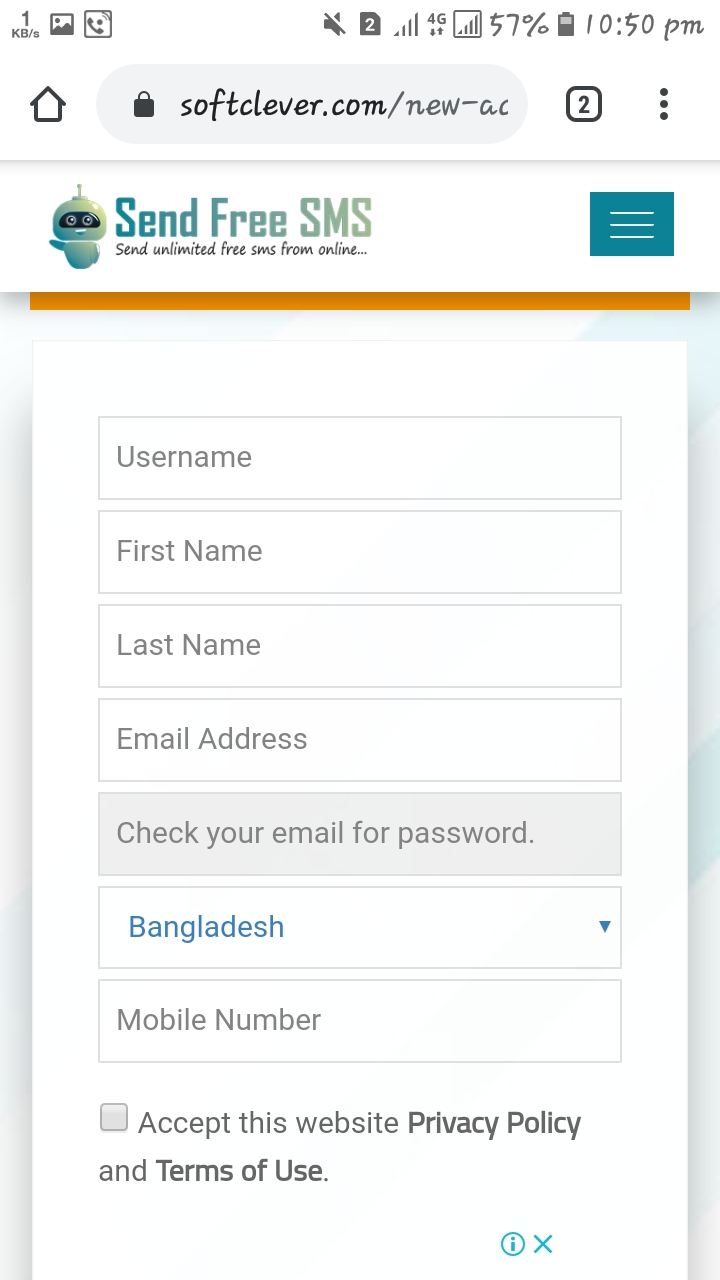 Unlimited free sms send -  ফ্রি এস এম এস পাঠান যেকোনো নাম্বারে।
