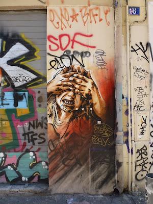 Stencil: Ziemlich passend zur Zeit - besser nich hinschauen.... || von RUST || Marseille