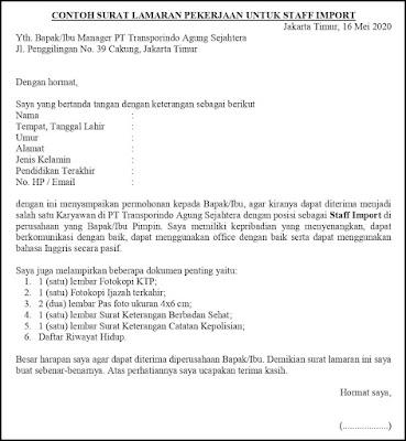Contoh Surat Lamaran Pekerjaan Untuk Hukum
