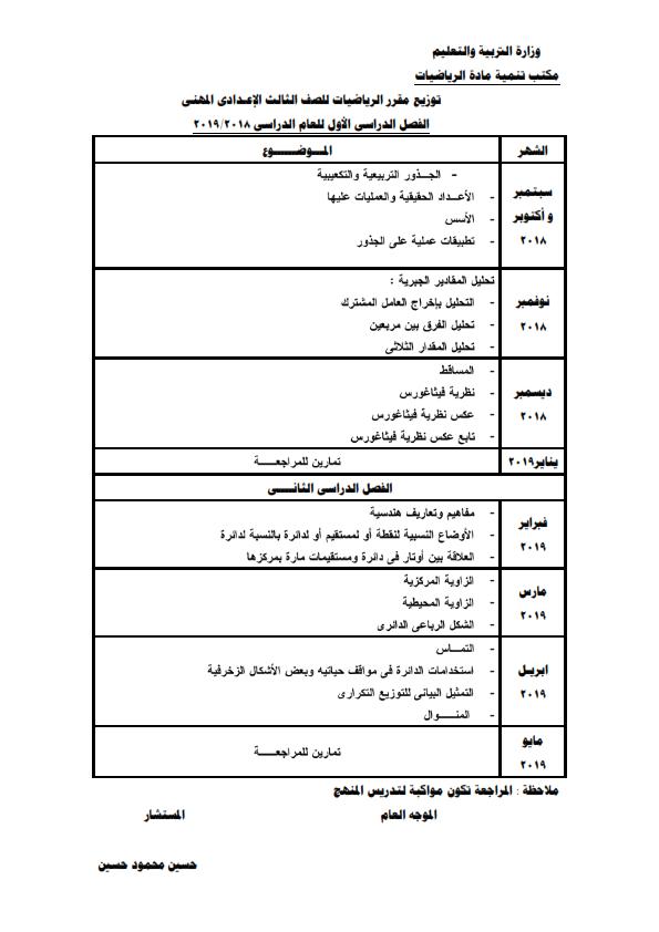 توزيع منهج الرياضيات للمرحلة الإعدادية للعام ٢٠١٨ / ٢٠١٩ 2_003
