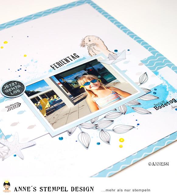 """Details zum Scrapbookinglayout """"Ferientag"""" mit Textstempeln von Annes Stempel-Design mit Link zum Entstehungsvideo"""