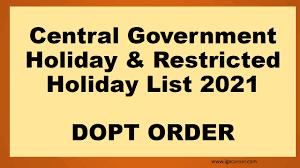 Rajsthan Govt office Holiday calendar year 2021