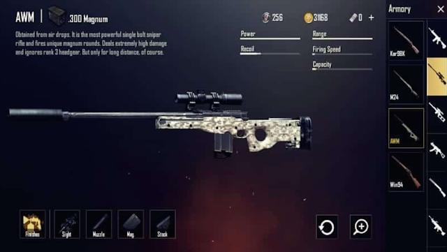 awm - sniper rifle pubg